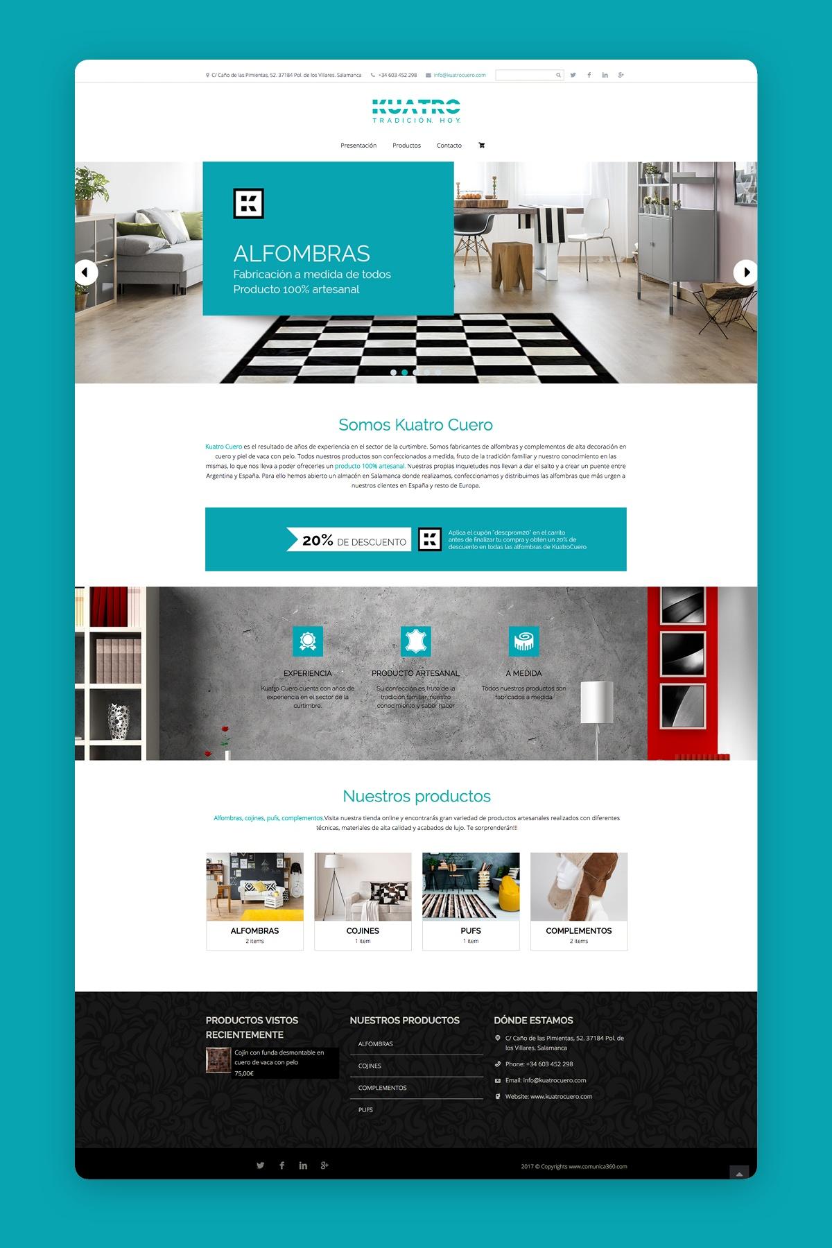Diseño web tienda online Kuatro Cuero